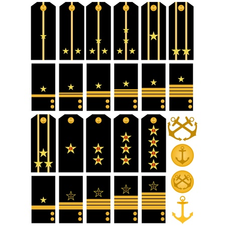 Shoulder straps and stripes with signs of distinction of the Navy of the Russian Army. An illustration on a white background. Vector