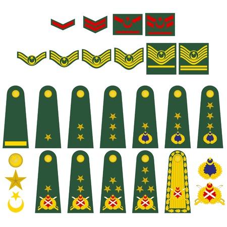 Epaulets, military ranks and insignia. Illustration on white background.