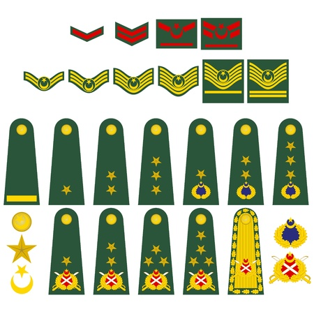 Epaulets, military ranks and insignia. Illustration on white background. Vector