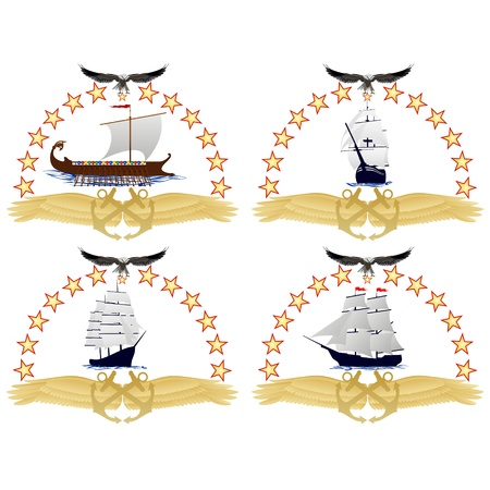 brigantine: The ancient military sailing ship against anchors and stars  An illustration on a white background  Illustration