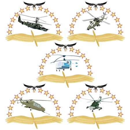 The modern military helicopter against wings and stars  An illustration on a white background