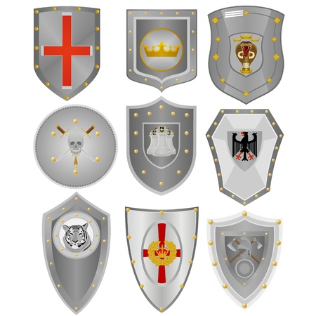 Various knightly boards with symbolics  An illustration on a white background  Vector