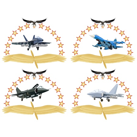 The modern military plane against wings and stars  An illustration on a white background  Vector