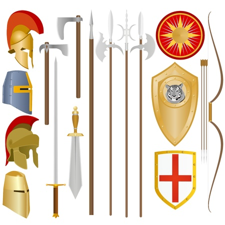 Weapon and armor of the ancient soldier  An illustration on a white background