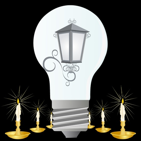 socle: Electric bulb and candles in candlesticks. An illustration on a black background.