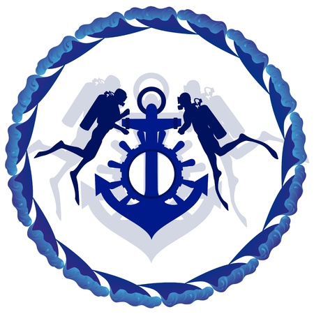The group of divers and an anchor with the steering wheel on a background of abstract waves. Vector