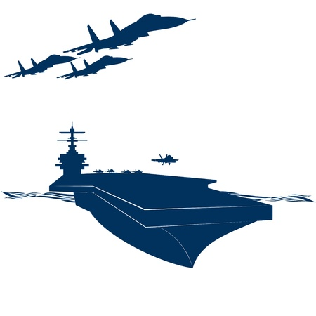 Navy. Military aircraft taking off from an aircraft carrier. Illustration on white background.