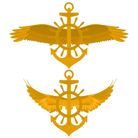 wingspan: Abstract Marine icon. Sea anchor and wheel with wings. Illustration on white background. Illustration