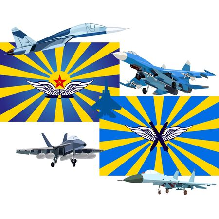 air hammer: The modern military plane against flags of the USSR and Russia. An illustration on a white background. Illustration
