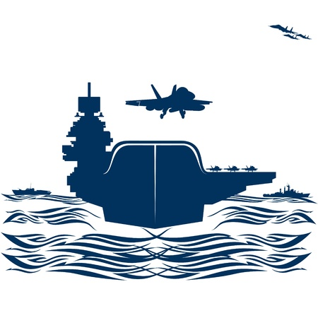 water carrier: Navy. Military aircraft taking off from an aircraft carrier. Illustration on white background.