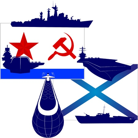 destroyer: Contours of the modern military ships against the Flag of the Navy of the USSR and Russia. An illustration on a white background.