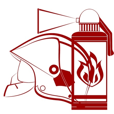 Modern helmet of the fireman and fire extinguisher  An illustration on a white background  Vector