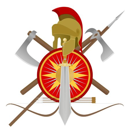 Weapon and armor of the ancient soldier  An illustration on a white background  Stock Vector - 16261529
