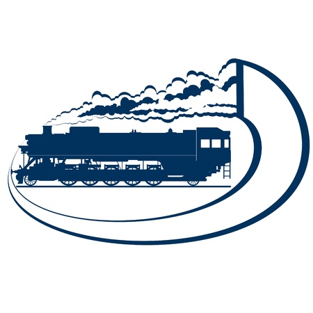 Abstract icon with a moving locomotive  Old rail  Illustration on white background  Stock Vector - 16403683