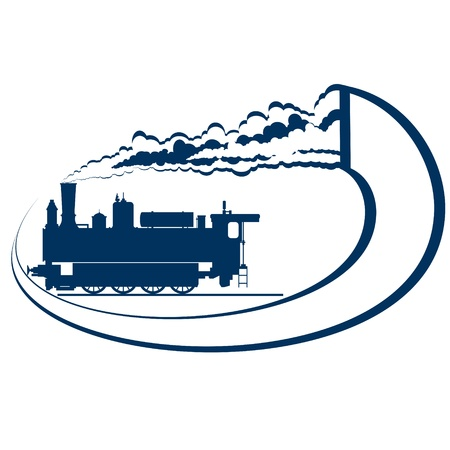 trait: Abstract icon with a moving locomotive  Old rail  Illustration on white background