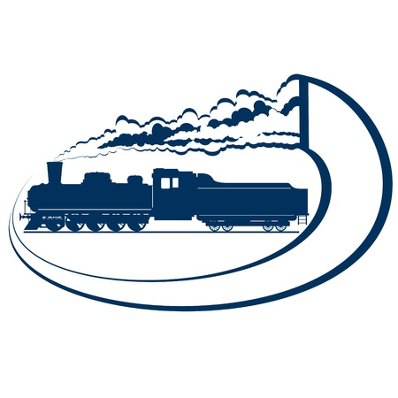 Abstract icon with a moving locomotive  Old rail  Illustration on white background  Vector