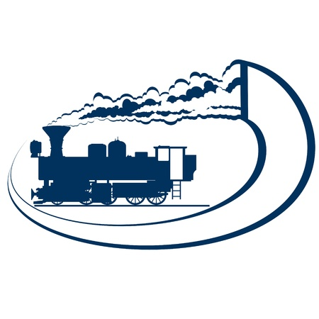 Abstract icon with a moving locomotive  Old rail  Illustration on white background  Stock Vector - 16403671