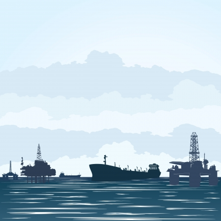 Oil derricks at the ocean and tankers transporting petroproduction  Illustration