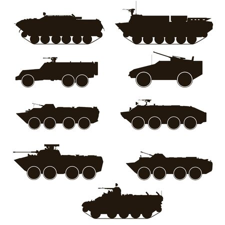 armoured: Military equipment. Contours of armoured troop-carriers. An illustration on a white background.