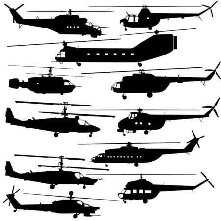 Military equipment. Contours of modern helicopters. An illustration on a white background. Vector