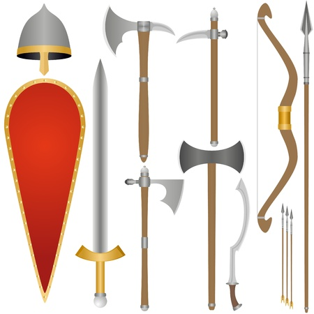 Set of the weapon and armor of the ancient soldier. An illustration on a white background.