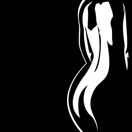 naked woman  white background: The contour of the female body. Abstract black-and-white illustration.
