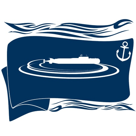 Navy. Flag with an anchor and a submarine. Illustration on white background. Stock Vector - 16697186