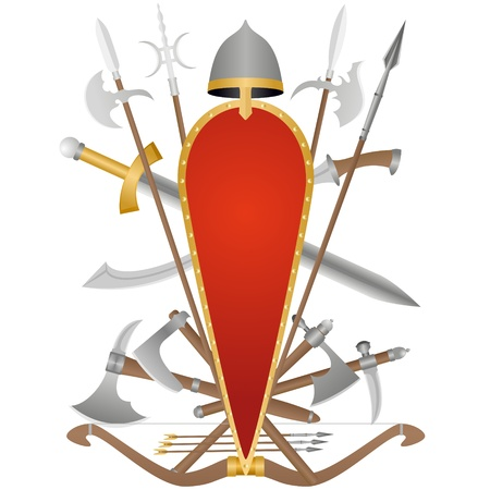 Weapon and armor of the ancient soldier. An illustration on a white background. Stock Vector - 16697195