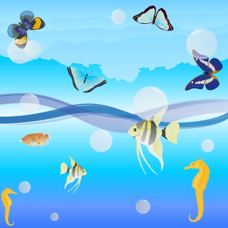 Butterflies are flying over the ocean waves, fish swim in water. Vector