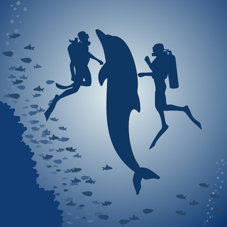 Contour dolphin and scuba divers swimming in the sea. Vector