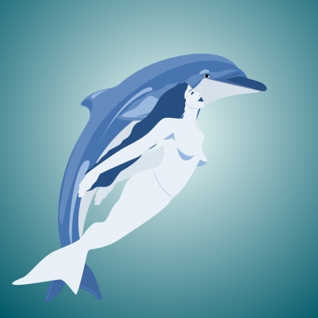 Dolphin and mermaid swimming together in the sea Vector