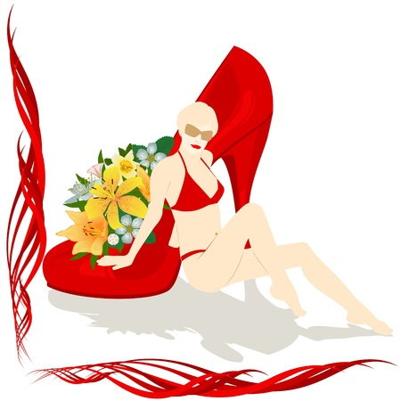 A woman in a bathing suit sits at shoes with flowers Stock Vector - 17009614