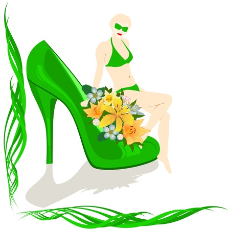 A woman in a bathing suit sits in the shoe with flowers Vector