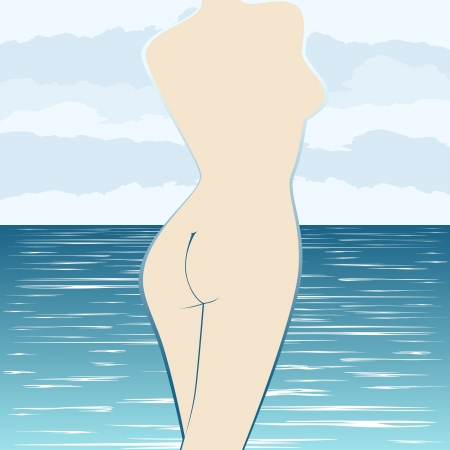 The contour of the female body against the sea and clouds Stock Vector - 17121875