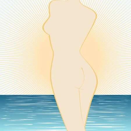 The contour of the female body against the sea and the rising sun. Stock Vector - 17121867