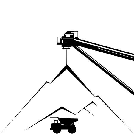 coal mining: Coal industry  Coal mining  Illustration on white background  Illustration