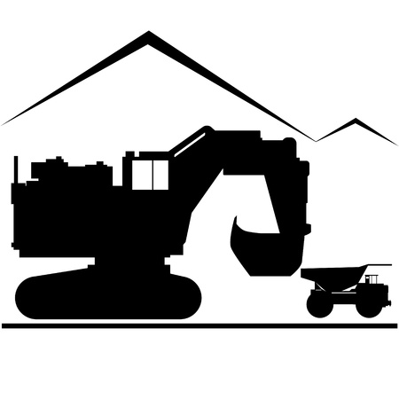 Coal industry. Excavator and truck. Illustration on white background. Vector