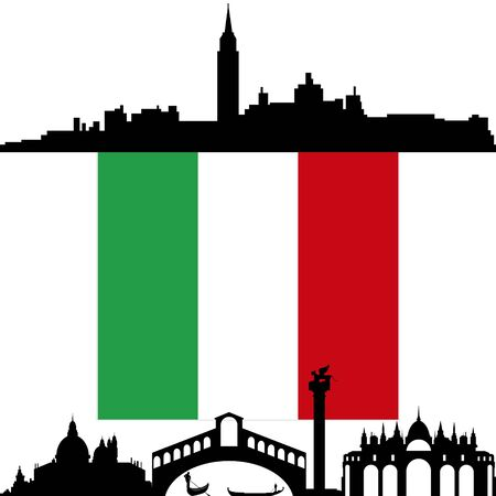 National flag and architecture of Italy. Illustration on white background. Stock Vector - 17993004