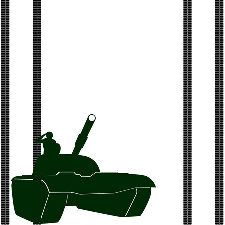 Modern tank and a trace of tank tracks. Illustration on white background. Vector