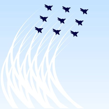 maneuver: Element of modern fighters in battle array performs maneuvers in the sky. Illustration