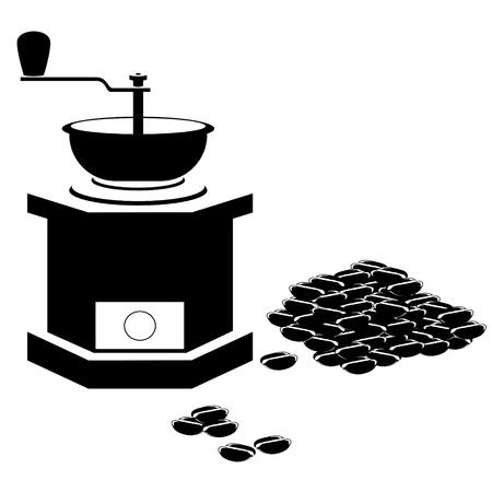 macinino caffè: Smerigliatrice di caff� e chicchi di caff�. Illustrazione in bianco e nero. Vettoriali
