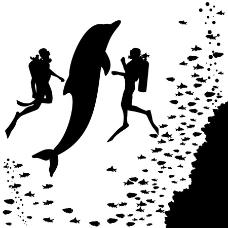 Two scuba divers swim next to the dolphin. Black-and-white illustration.