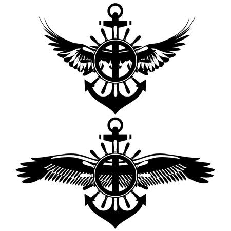 ancre marine: Badge avec des ailes, la roue et l'ancre. Noir et blanc illustration.