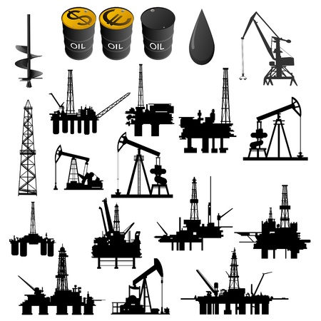 mineral oil: Oil facilities. Black-and-white illustration on a white background.