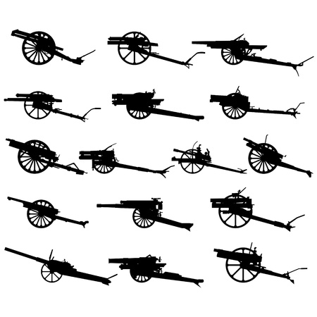 cannon: The contours of artillery. Illustration on white background. Illustration