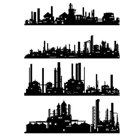 black and white plant: The contour of industrial buildings and structures. The illustration on a white background.