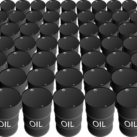 barril de petróleo: Las filas de barriles de petróleo. La ilustración sobre un fondo blanco.