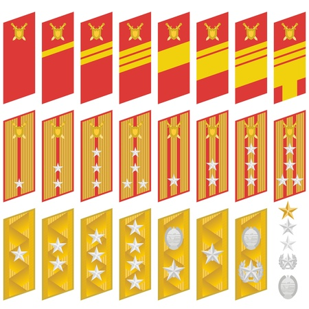 Military ranks and insignia of the world  The illustration on a white background  Vector