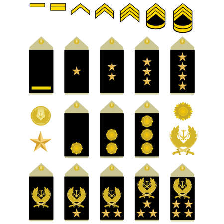 Military ranks and insignia of the world  The illustration on a white background  Illustration