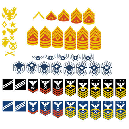 estrellas  de militares: Los parches del Ej�rcito de los EE.UU. La ilustraci�n sobre un fondo blanco Vectores